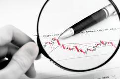 Analisando o mercado de valores de acção Fotos de Stock Royalty Free