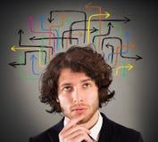 Analisando várias possibilidades e soluções imagem de stock