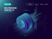 Analisi dei dati che elabora i grandi dati che computano, flusso di informazioni, laboratorio di scienza digitale, buio di concet illustrazione di stock
