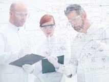 Analisi dei dati del laboratorio dei ricercatori Immagine Stock