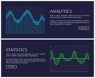 Analisi dei dati e dati di statistiche indicati in grafici illustrazione di stock