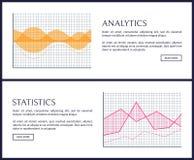 Analisi dei dati e pagine di informazioni di Internet di statistiche messe illustrazione vettoriale