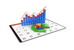 Analisi dei dati finanziari nei grafici - panoramica grafica moderna delle statistiche Fotografia Stock