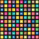 100 analisi dei dati, icone di ricerca messe Immagini Stock