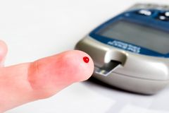 Analisi del sangue livellata del glucosio Fotografia Stock Libera da Diritti