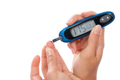 Analisi del sangue livellata di misurazione paziente del glucosio del diabete fotografia stock libera da diritti