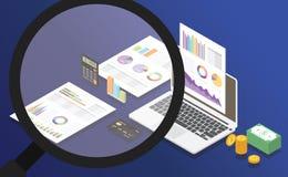 Analisi della relazione di attività con alcuni grafico del documento cartaceo e strumenti d'ingrandimento dello zoom per ispezion royalty illustrazione gratis