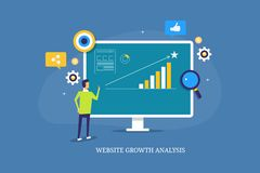 Analisi di crescita del sito Web, crescita che incide idea, monitoraggio di prestazione commercializzante online, lavoro dell'uom illustrazione di stock