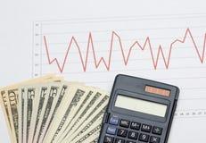 Analisi di mercato di riserva con contanti Immagini Stock Libere da Diritti