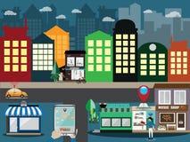Analisi di posizione, navigazione di GPS ed uso chiamare servizio di taxi Fotografie Stock