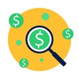Analisi di profitto, finanza, affare, vettore, icona piana illustrazione vettoriale