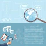 Analista do negócio da estratégia de marketing do conceito da finança da notícia Imagem de Stock Royalty Free
