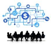 Analista Group de las finanzas del negocio de la silueta Fotografía de archivo libre de regalías
