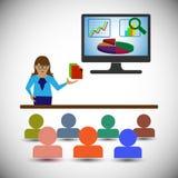 Analista/mulher do negócio que apresenta os relatórios, as cartas e os gráficos e mostrando a analítica dos dados Fotografia de Stock