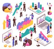 Analista Set del negocio stock de ilustración