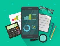 Analityka dane rezultaty na telefonie komórkowym ekranizują wektorową ilustrację i zgłaszają, płaskie kreskówek statystyki ewiden ilustracja wektor