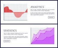 Analityka i statystyki sieci Pouczający plakaty royalty ilustracja