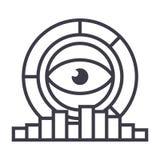 Analityka, marketingowy badanie, diagrama wektoru linii ikona, znak, ilustracja na tle, editable uderzenia ilustracji