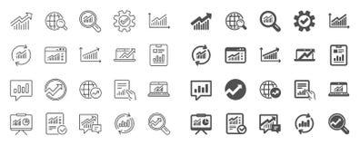 Analiz kreskowe ikony Mapy, raporty i wykresy, wektor ilustracji