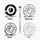 Analiza, analityka, biznes, diagram, pasztetowej mapy ikona w linii i glifie Cienkiej, Miarowej, Śmiałej, Projektuje r?wnie? zwr? ilustracja wektor