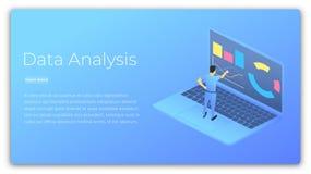 analiza danych blisko palce papieru ołówkowej widok kobiety Isometric ilustracja analizuje dane i kieruje mężczyzna Dane - przetw Obrazy Royalty Free