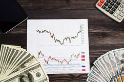 Analiza giełda papierów wartościowych handlu rozkłady zdjęcia royalty free