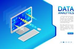 Analiza informacja na komputerze Monitorowanie i statystyki d royalty ilustracja