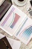 Analizar gráficos con el dólar del euro del tipo de cambio de la evolución Imagenes de archivo