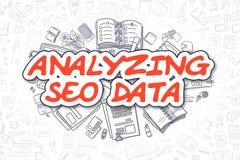Analizzando SEO Data - testo di rosso del fumetto Concetto di affari Immagini Stock Libere da Diritti