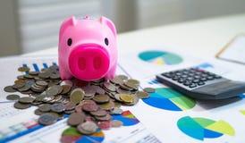 analizzare i grafici ed i grafici di reddito con il calcolatore fotografia stock libera da diritti