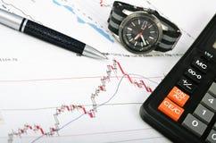 Analizzare il mercato azionario Il tempo è denaro Immagine Stock