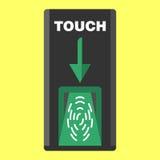 Analizzatore biometrico del dito su colore piano del nero di stile Fotografie Stock Libere da Diritti