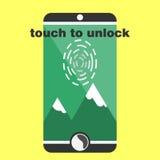 Analizzatore biometrico dell'impronta digitale sullo smartphone piano Fotografia Stock Libera da Diritti