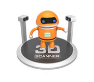 analizzatore 3D e robot isolati su fondo bianco Fotografia Stock Libera da Diritti