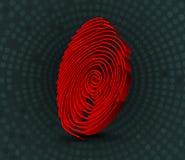 Analizzatore rosso dell'impronta digitale illustrazione 3D Fotografia Stock