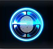 Analizzatori di verifica Ricerca del dito nello stile futuristico Identificazione biometrica con futuristico illustrazione vettoriale
