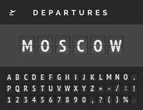 Flight departure destination in Europe Moscow. Airport flip board font . Vector illustration. Analog airport flip board displays flight info of departure in royalty free illustration