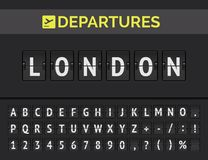 Airport flip board font showing flight departure destination in Europe London. Vector. Analog airport flip board with flight info of departure destination in royalty free illustration