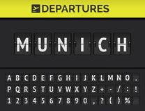 Airport flip board font showing flight departure destination in Europe Munich. Vector. Analog airport flip board with flight info of departure destination in vector illustration