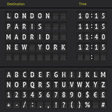 Analog airport scoreboard. Airport departure arrival destination mechanical analog counter board template illustration. Vector EPS10 Royalty Free Stock Photo