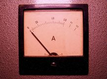 Analog ampere meter or amp meter. Close-up.  stock photos