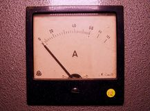 Analog ampere meter or amp meter. Close-up.  stock photo