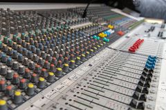 Analog Audio mixing console royalty free stock images