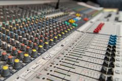 Analog Audio mixing console stock photo