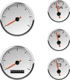 Analog Automotive or Boat Gauges. Chrome automotive or boat gauges. Analog speedometer, fuel, battery, and temperature. Numbers are not included. Created in CMYK Stock Photography