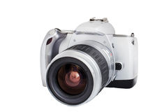 Analog camera on film 35mm format isolated on a white background  Royalty Free Stock Photography