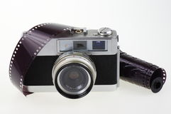 Analog camera and photographic film Royalty Free Stock Images