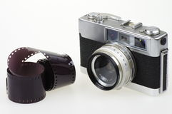 Analog camera and photographic film Royalty Free Stock Photography