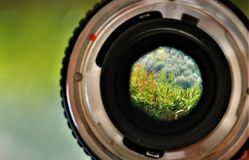 Close up of an analog camera with lens. stock photos