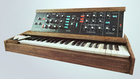 Analog classic synthesizer perspective Royalty Free Stock Image